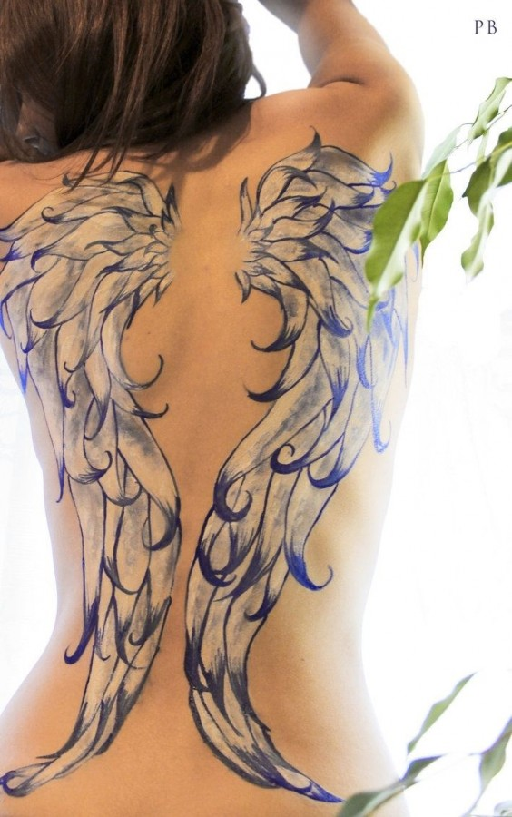 Blue and white wings tattoo