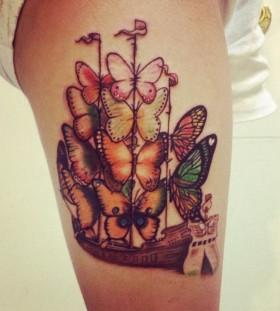 Butterflies ship tattoo