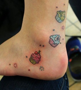 Cakes tattoo on leg