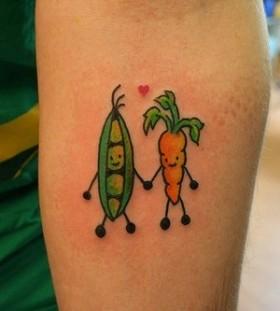 Carrots vegan tattoo
