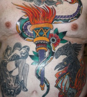 Chest tattoo by Mike Schweigert