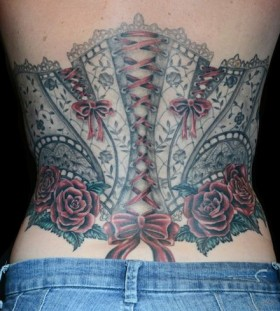 Colorful corset tattoo