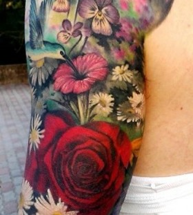 Colorful flowers plant tattoo