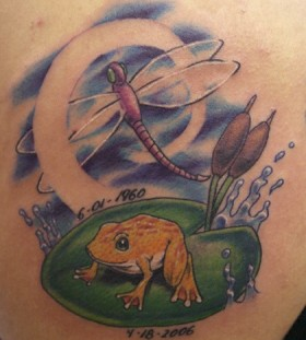 Colorful frog tattoo