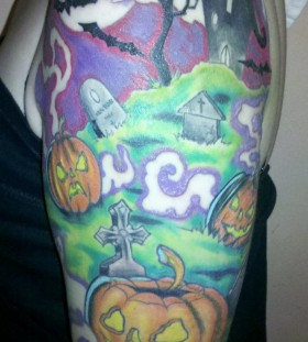 Colorful halloween tatoo