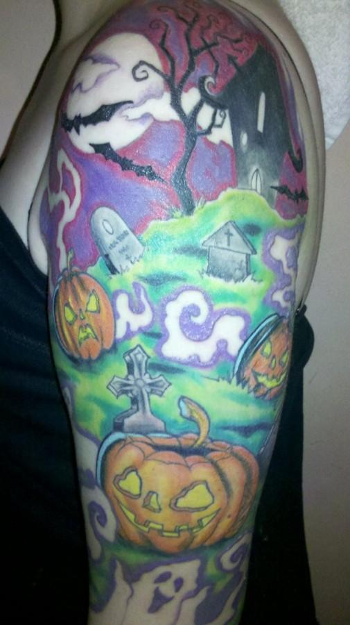 Colorful halloween tatoo