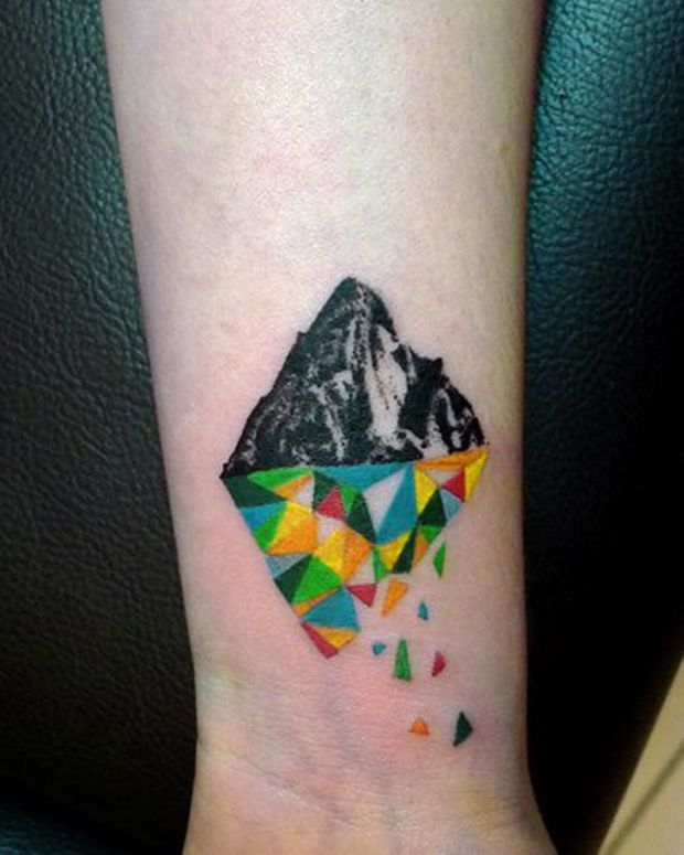 Colorful simple mountains tattoo
