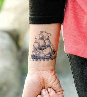Cool wrist ship tattoo