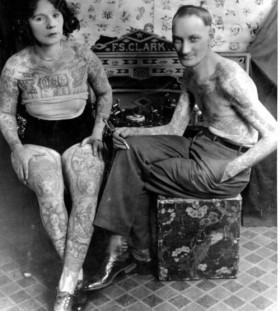 Couple vintage style tattoos