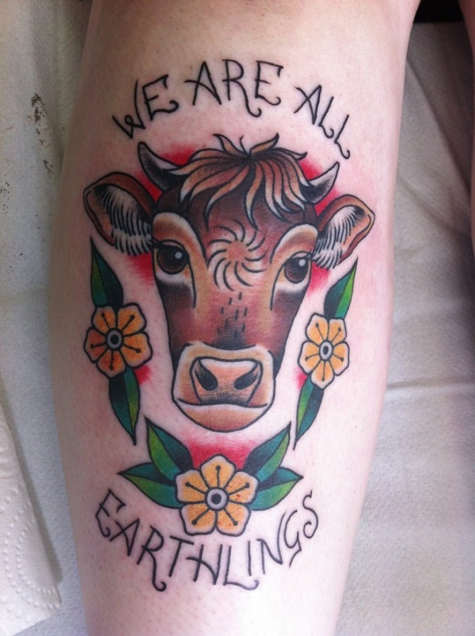 Cow and vegan tattoo