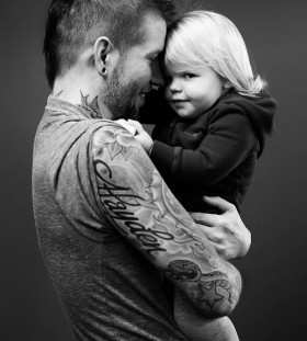 Cute father and daughter tattoo