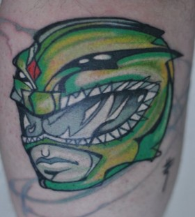 Cute green helmet tattoo