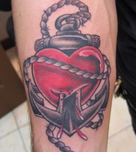 Cute red heart tattoo