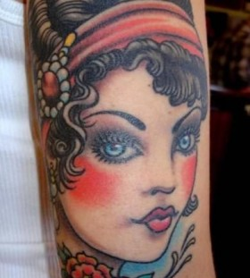 Cute woman vintage style tattoos