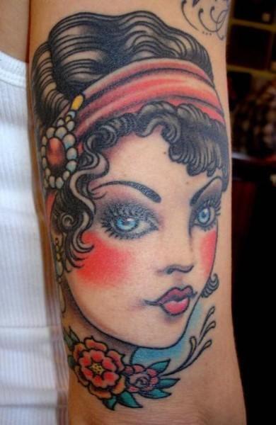 Cute woman vintage style tattoos