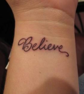 Cute wrist believe tattoo