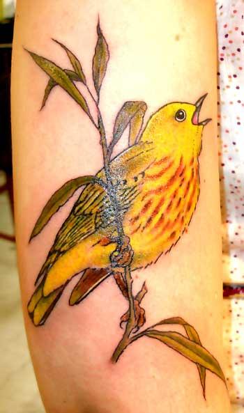 Cute-yellow-bird-tattoo