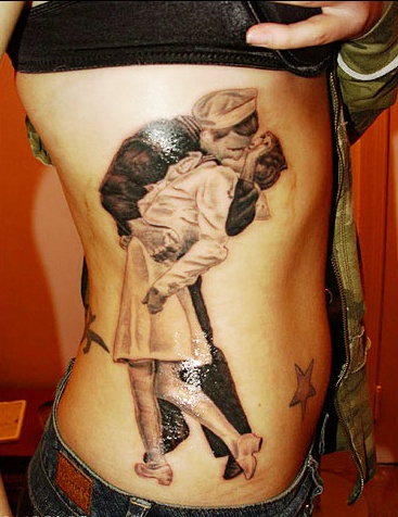 Dancing couple retro style tattoo
