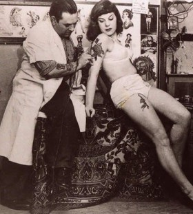 Doctor and woman retro style tattoo