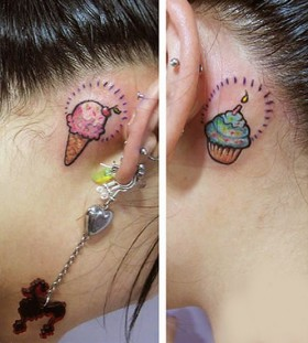 Ear ice cream tattoo