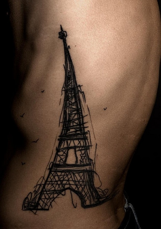 Eiffel-tower-sketch-tattoo