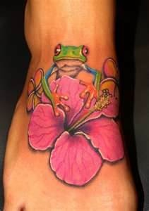 Flower and frog tattoo