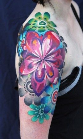 Flowers retro style tattoo