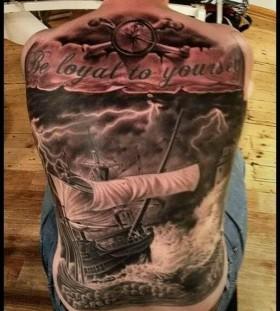 Full back ship tattoo