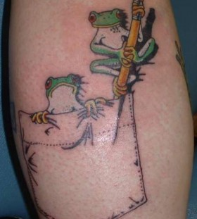 Funny frog tattoo