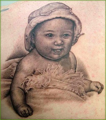 Funny tattoo with baby