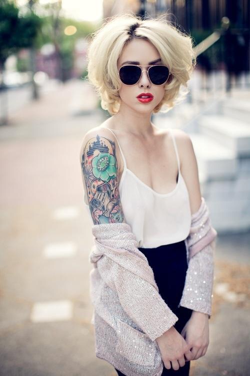 Girl retro style tattoo