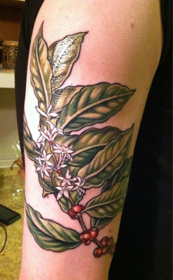 Green plant tattoo