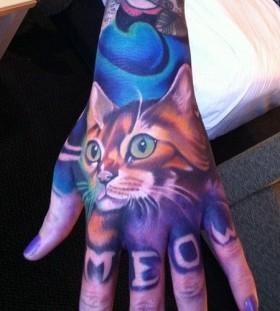 Hand cat tattoo