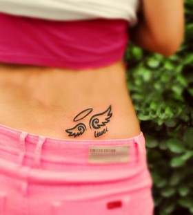 Hip wings tattoo