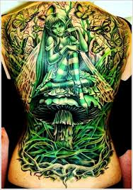Impressive green tattoo on the back