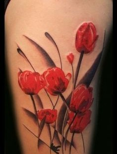 Impressive tulips tattoo