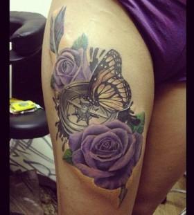 Leg purple tattoo