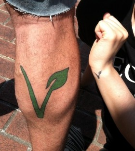 Leg vegan tattoo