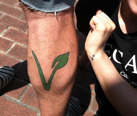Leg vegan tattoo