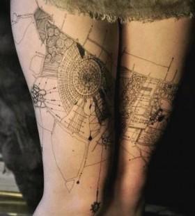 Legs architecture tattoo