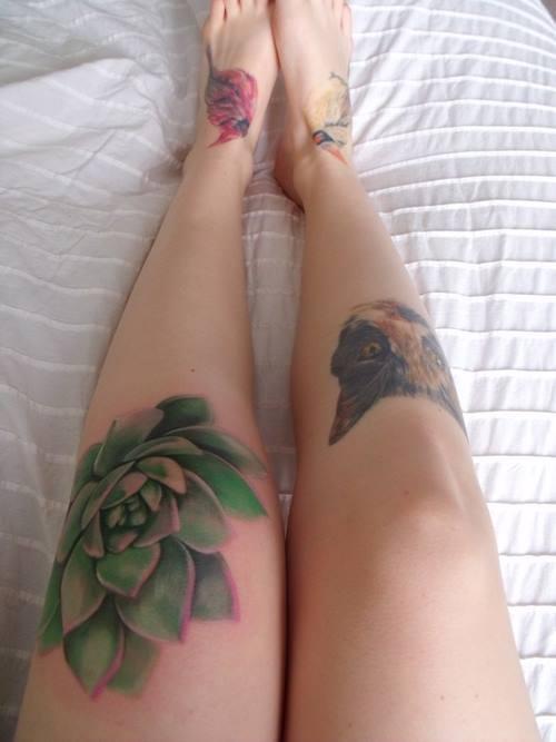 Legs plant tattoo
