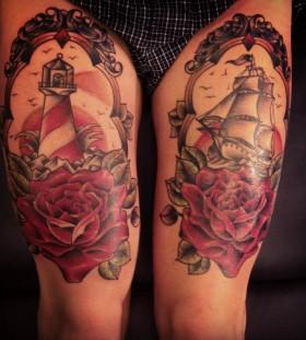 Legs ship tattoo