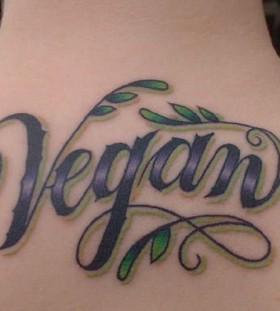 Letters vegan tattoo