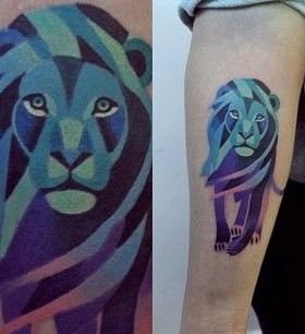 Lion purple tattoo