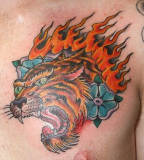 Lion tattoo by Mike Schweigert