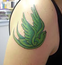 Little green bird tattoo