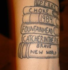 Little tattoo with few books