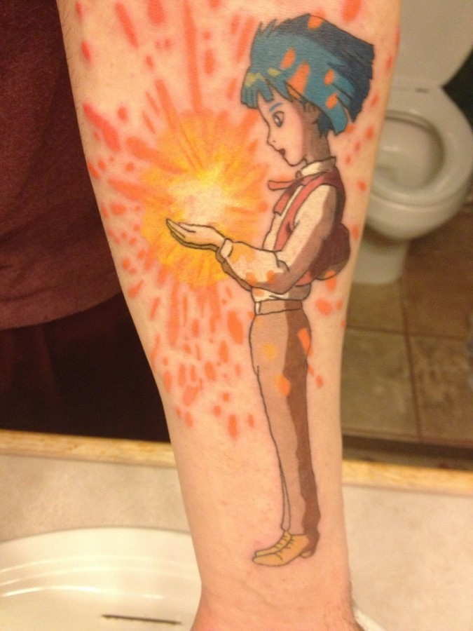 Lovely boy tattoo by Lisa Orth
