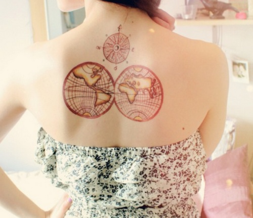 Lovely girl map tattoo