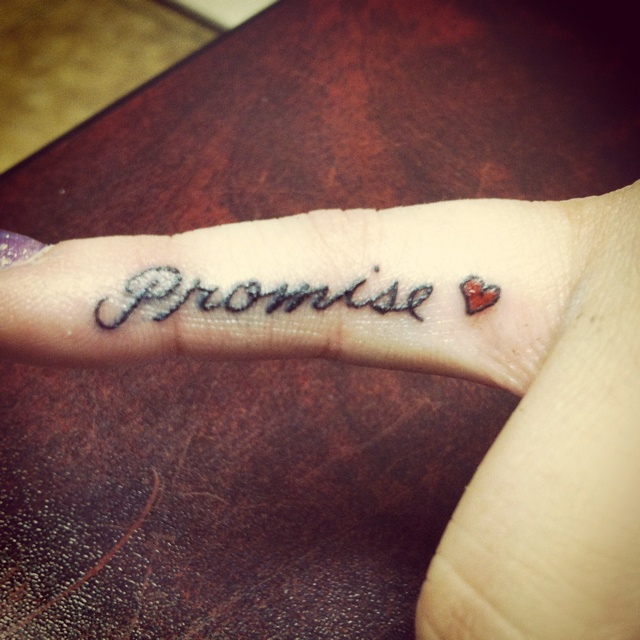 b9f593676420a Lovely red heart and promise tattoo - | TattooMagz › Tattoo Designs ...